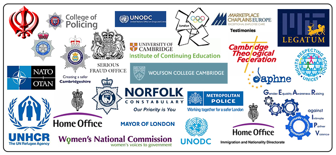 Clients incluse: Immigration and Nationalities Directorate,The Home Office, Cambridgeshire Constabulary, University of Cambridge; Institute of Continuing Education, Norfolk Constabulary, Wolfson College, University of Cambridge, The Serious Fraud Office, The Cambridge Federation of Theological Colleges